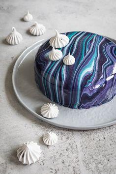 Blueberry Sky Mirror Glaze Cake
