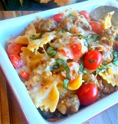 This Italian Sausage and Pasta in a Cream Basil Sauce makes a delicious quick and easy weeknight dinner that your family will love.