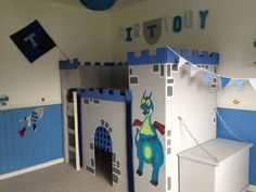 Boys homemade castle bedroom. Blue and grey. Dragon. Mum made it :)