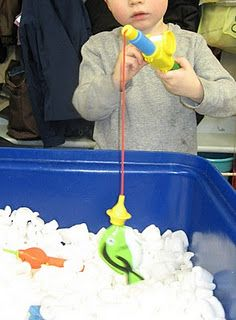 ice fishing in packing peanuts-do with magnetic letters and fishing pole (spell WINTER, etc)