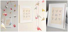 DECORACIÓN infantil aves de origami. Movil de pajaros de papel.