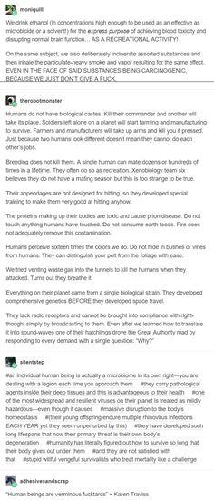 Aliens vs humans aka 'stupid willful vengeful survivalosts who treat mortality like a challenge'