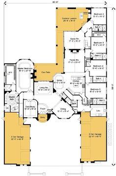 Stunning Mediterranean Villa - 83362CL   European, Mediterranean, Luxury, 1st Floor Master Suite, Bonus Room, Butler Walk-in Pantry, CAD Available, Den-Office-Library-Study, In-Law Suite, Media-Game-Home Theater, PDF, Split Bedrooms   Architectural Designs. WOWWWW!!!