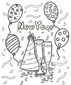 Free Printable Happy New Year 2015 Clipart Coloring Pages For Kids