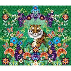 Panneau de papier peint Tiger par Catalina Estrada - Tiger wallcover pannel by Catalina Estrada