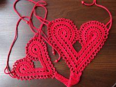 Mano crochet cadena corazón tangas por SintijasCrafts en Etsy