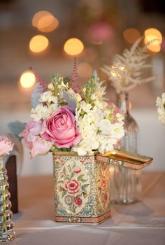 florals in vintage tin