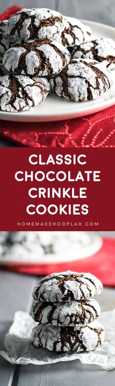 Classic Chocolate Crinkle Cookies! Chocolate cookies rolled in powdered sugar and baked to light & crumbly perfection. They're the perfect combination of brownies and crinkle cookies! | HomemadeHooplah.com
