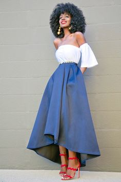 Style Pantry | Short Off The Shoulder Top + High Low Tea Length Skirt