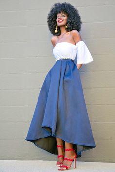 Short Off The Shoulder Top + High Low Tea Length Skirt