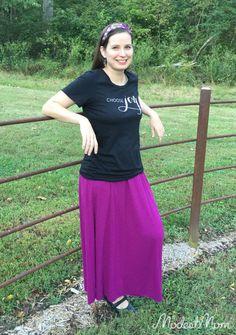 The Modest Mom - DIY Modest Fashion ideas with Choose Joy t-shirt,  a purple maxi skirt and flower headband