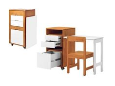 """""""How+impressive+is+this?+The+wood+chair+fits+perfectly+into+what's+usually+wasted+space+around+the+drawers,+and+the+desk+pops+up+from+the+side.+It's+an+instant+rolling+office!+Plus,+you+get+a+real+chair,""""+says+Katie.+""""None+of+that+flimsy+folding+chair+nonsense.""""+Ludovico+plywood+office+(20+1/2""""W+x+18+1/2""""D+x+35""""H+as+a+file+cabinet),+$799,+expandfurniture.com"""
