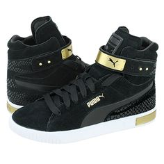 PC Femme Mid WR - Puma Women's casual low boots made of suede and leather with leather lining and synthetic outsole. Available in color Black-Gold.