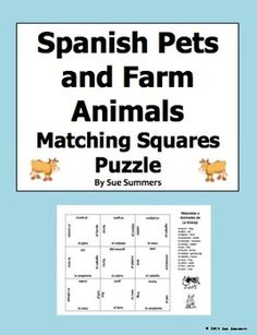 Spanish Animals - Pets and Farm Animals Matching Squares Puzzle by Sue Summers - Pair work, partner activity