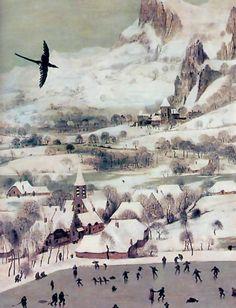 """""""Le Trébuchet ou Paysage avec la trappe aux oiseaux"""" huile sur bois de Pieter…"""