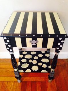Funky hand painted end/ night table by oliviacamille on Etsy, $95.00