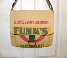 Vintage Funk's G corn seed sack upcycled by LoriesBags on Etsy