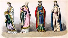 French queens costumes 10th to 11th century THE CAROLINGIAN PERIOD. French medieval queens, nobility costumes in the period of the 10th and 11th century. French Middle Ages Fashion History.