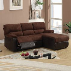 Small Chocolate Microfiber Loveseat Recliner Right Chaise Sectional Sofa Set