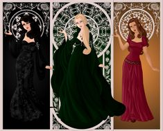 The Black Sisters Bellatrix Lestrange (neé Black), Narcissa Malfoy (neé Black), Andromeda Tonks (neé Black).