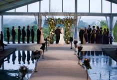 Great use of the space with pool. Tent Wedding, Wedding Rentals, Wedding Reception Decorations, Luxury Wedding, Wedding Day, Reception Ideas, Clear Tent, Marina Bay Sands, Real Weddings