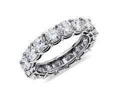 Cushion-Cut Diamond Eternity Ring in Platinum (5 ct. tw.)   Blue Nile