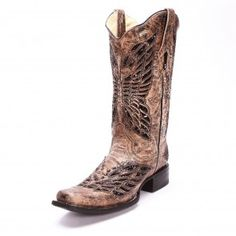 Corral Women's Sequence Square Toe Tan Cowgirl Boots