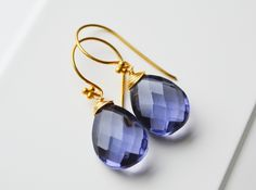 Lolithblaue Ohrringe vergoldet 925 Silber // earrings by miaundmartha via dawanda.com