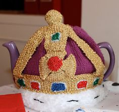 knitted crown tea cosy