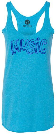 Music (Blue) Tri-Blend Racerback Tank-Top