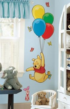 Disney Winnie The Pooh and Piglet Giant Wall Sticker. This adorable set of Pooh and Piglet wall stickers is the perfect addition to any nursery or child's bedroom. Pooh soars high into the sky with a set of colourful balloons, complete with cute Piglet! Winnie The Pooh Nursery, Disney Nursery, Disney Winnie The Pooh, Baby Bedroom, Baby Room Decor, Kids Bedroom, Stickers Winnie, Wall Stickers, Vinyl Decals