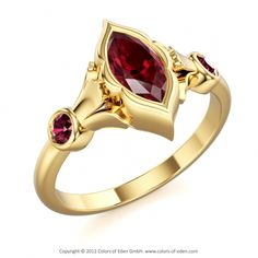 "Yellow Gold Ruby Ring - ""Eye Of Shiva"""