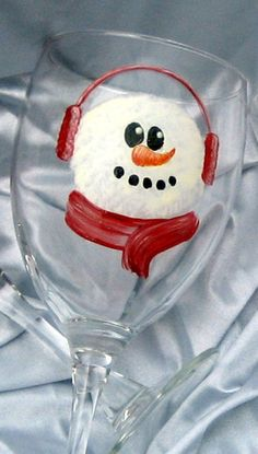 Snowman Wine Glasses Hand Painted por LorisOriginals en Etsy