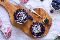 Energy-Boosting Spirulina Blueberry Chia Pudding | The Nourished Mind Lil Sweet, Pudding Ingredients, Blueberry Compote, Canned Coconut Milk, Chocolate Donuts, Spirulina, Shredded Coconut, Chia Pudding, Parfait