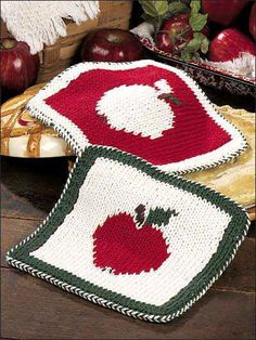 Apple Hot Pads  #Potholder #Hot #Pads #Free #Knitting #Pattern