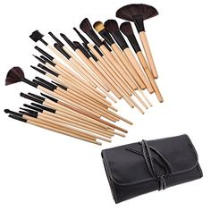 RichCoco Professional 32pcs Makeup Make Up Cosmetic Brushes Set Kit Tools Foundation Eyeshadow Eyeliner Superior Soft with PU Leather Case Pouch