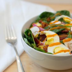 This quick and easy Spinach Salad packs enough protein to be hearty enough for a main course!