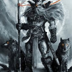 Odin, from Norse Mythology. I saw Odin, but not as the grey-haired wanderer, but younger, as you might imagine Thor. Art Viking, Viking Warrior, Viking Woman, Mythological Creatures, Mythical Creatures, Fantasy Warrior, Fantasy Art, Digital Art Illustration, Fenrir Tattoo