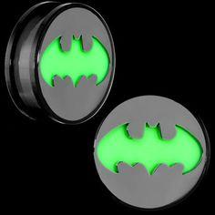 Batman Screw Fit Glow in the Dark Plugs | Body Candy Body Jewelry