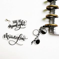 Moon related phrases and drawings as planner charms. Used shrink plastic and a permanent marker for the modern lettering. Shrink Plastic, Permanent Marker, Modern Calligraphy, I Card, Markers, Charms, Paper Crafts, Place Card Holders, Moon