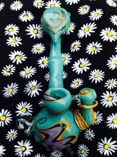 Teal pendant hammer glass pipe