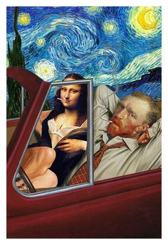 Vincent van Gogh and Mona Lisa light a cigarette under a starry night in an open convertible car automobile spoof poster art