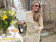What To Wear To Nantucket Daffodil Festival And Tailgates lace dress champagne picnic