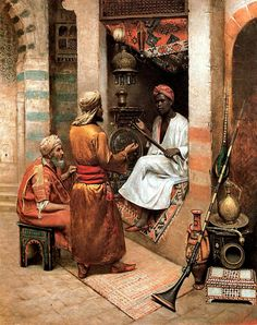 The vendor of eastern curios , Cairo 1887  BY Rudolf Weisse (Swiss painter , 1846-1933) Oil on panel 59 x 48,2 cm