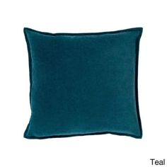 Decorative Harrell Poly or Feather Down Filled Throw Pillow (Polyester - Teal), Green, Surya - 18 x 18 (Cotton, Solid Color)