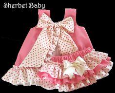 Bubblegum Pink and Polka Dots Ruffled Pinafore Set by SherbetBaby, $68.00