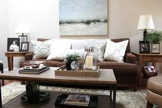 classic • casual • home: Brown Couch Blues: Mini-Makeover Before and After
