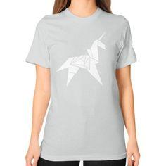 Origami Unicorn Unisex T-Shirt (on woman)