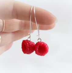 Red berries raspberry Earrings Polymer clay jewelry fresh summer Raspberry Berry Fruit  handmade food (15.00 EUR) by JuliaCreaStyle