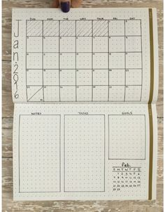 Minimalistic monthly planner / bullet journal layout. Simple easy to recreate